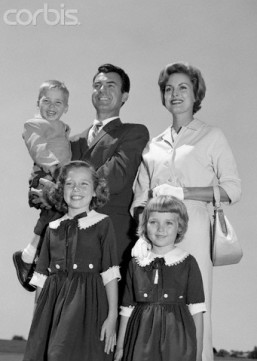 1960s Portrait Family Father Mother Two Daughters Son Standing Together Outdoors